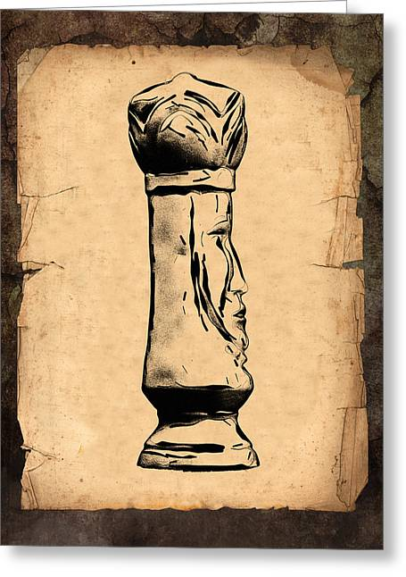 Book Illustrations Greeting Cards - Chess King Greeting Card by Tom Mc Nemar