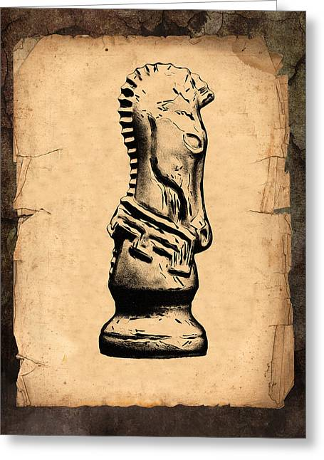 Book Illustrations Greeting Cards - Chess Knight Greeting Card by Tom Mc Nemar