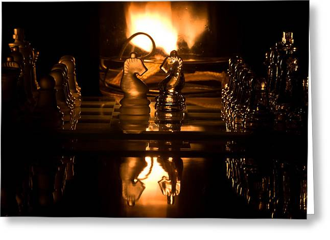 Game Piece Greeting Cards - Chess Knights and Flame Greeting Card by Lori Coleman