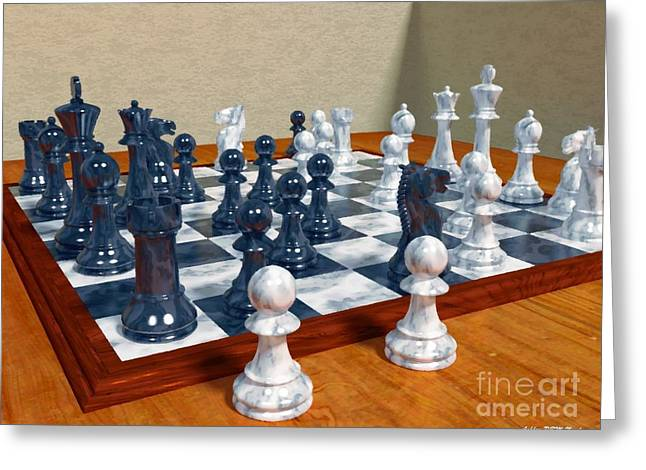 Chess Piece Digital Greeting Cards - Chess Pieces Greeting Card by Ashley Nowlan