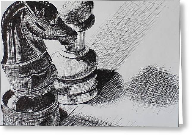 Chess Piece Drawings Greeting Cards - Knight and Pawn Chess Pieces  Greeting Card by Sonya Delaney