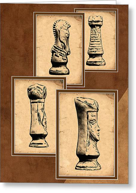 Book Illustrations Greeting Cards - Chess Pieces Greeting Card by Tom Mc Nemar