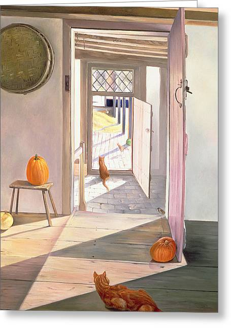 Barn Door Paintings Greeting Cards - Chessboard Greeting Card by Timothy Easton
