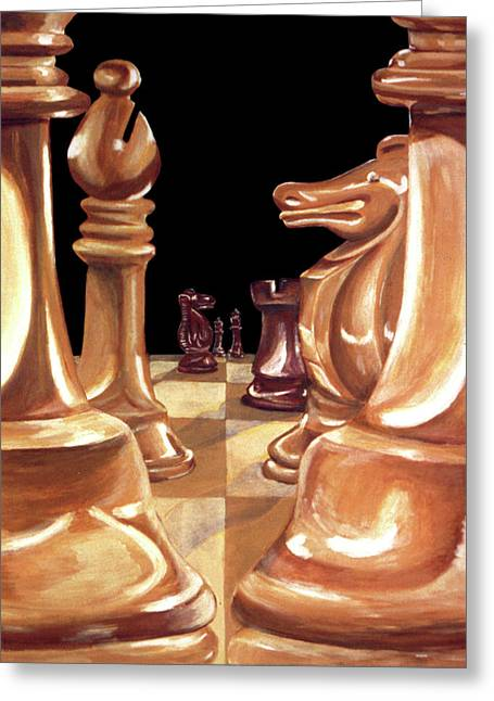 Chessmen Greeting Card by Diana Hume