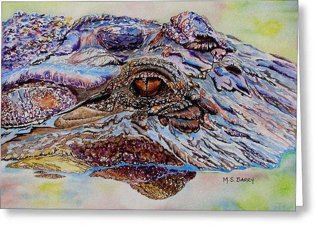 Gator Greeting Cards - Chester Greeting Card by Maria Barry