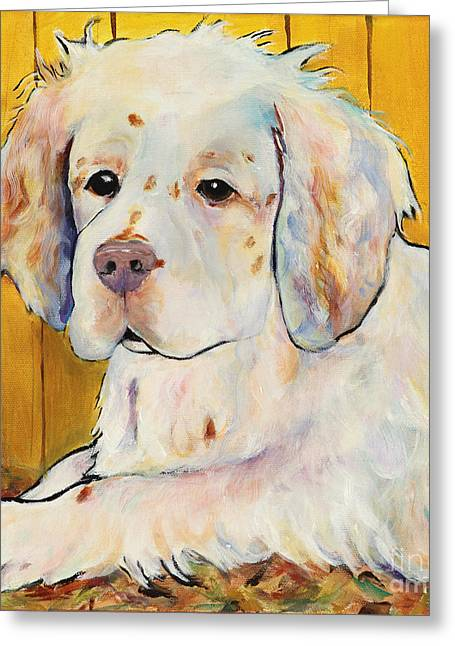 Dog Prints Greeting Cards - Chester Greeting Card by Pat Saunders-White
