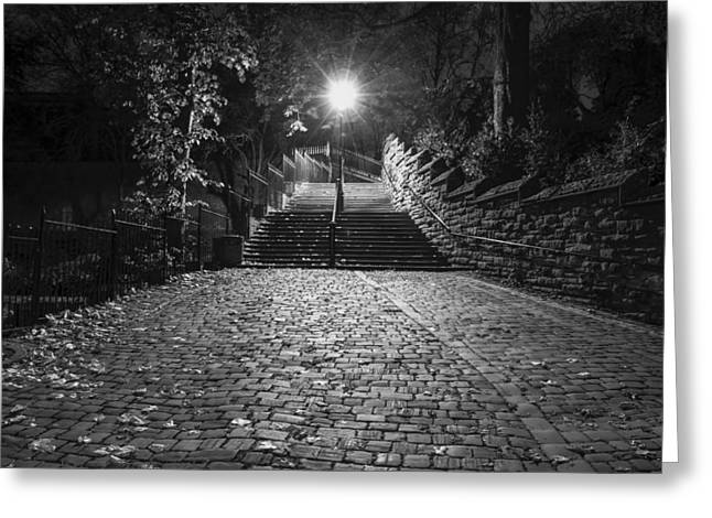 Stepping Stones Greeting Cards - Chester Steps Greeting Card by George Standen