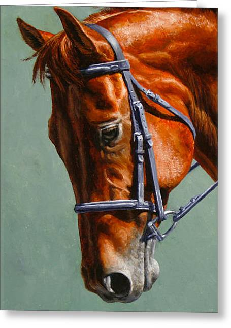 Sorrel Greeting Cards - Chestnut Dressage Horse Phone Case Greeting Card by Crista Forest
