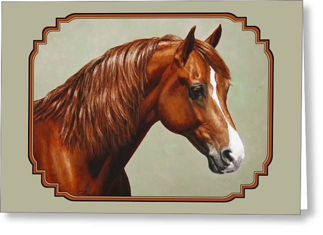 Sorrel Greeting Cards - Chestnut Morgan Horse Phone Case Greeting Card by Crista Forest