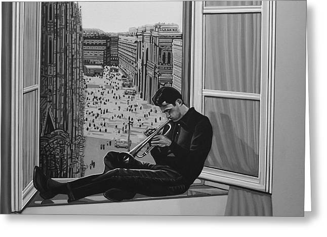 Known Greeting Cards - Chet Baker Greeting Card by Paul Meijering