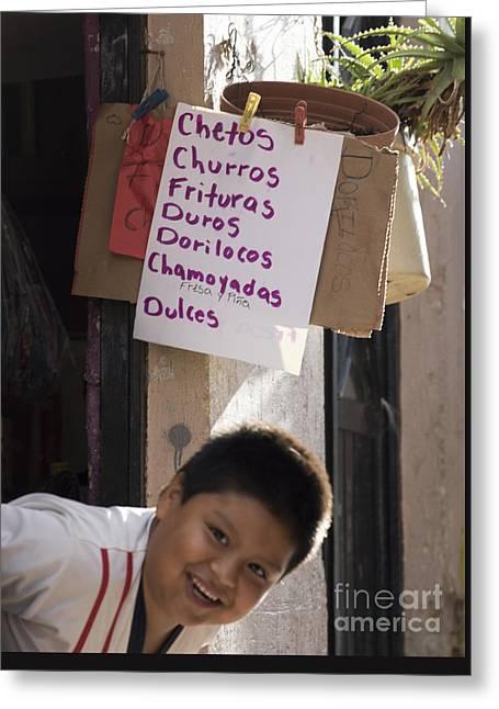 Advertisement Greeting Cards - Chetos Boy Greeting Card by Juli Scalzi