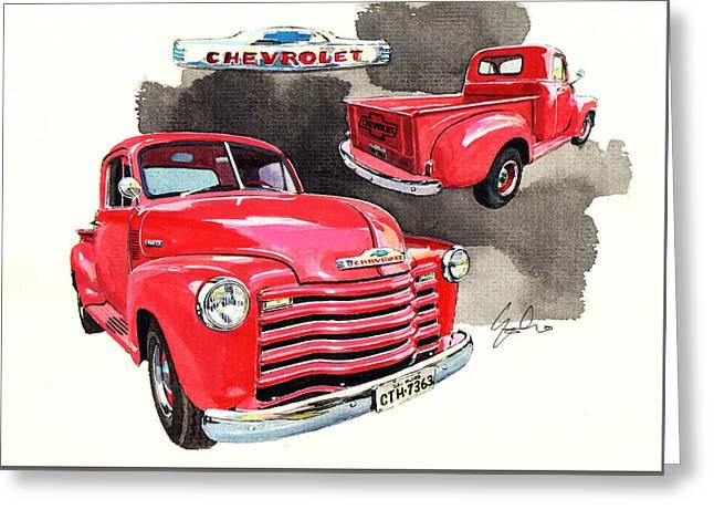 Chevrolet 3100 Greeting Cards - Chevrolet 3100 Pick Up Greeting Card by Yoshiharu Miyakawa