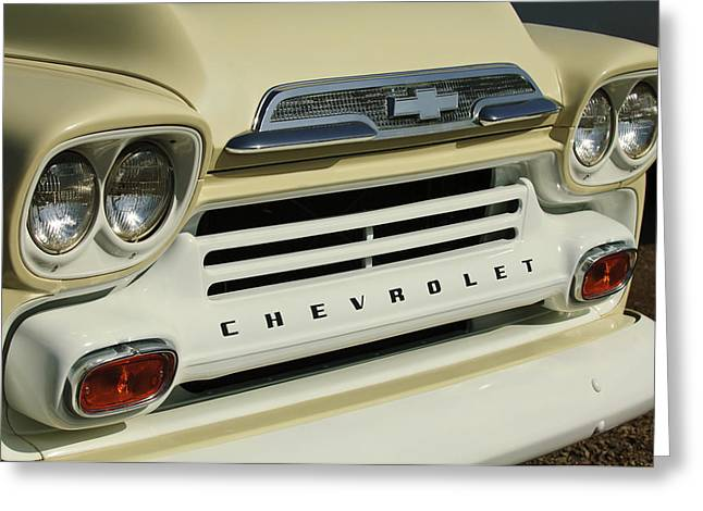 Fleetline Emblem Greeting Cards - Chevrolet Apache 31 Fleetline Front End Greeting Card by Jill Reger