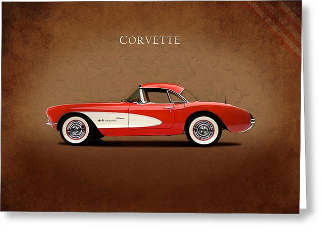 Muscle Photographs Greeting Cards - Chevrolet Corvette 1957 Greeting Card by Mark Rogan