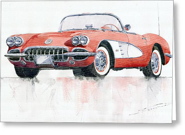 Vintage Cars Greeting Cards - Chevrolet Corvette C1 1960  Greeting Card by Yuriy  Shevchuk
