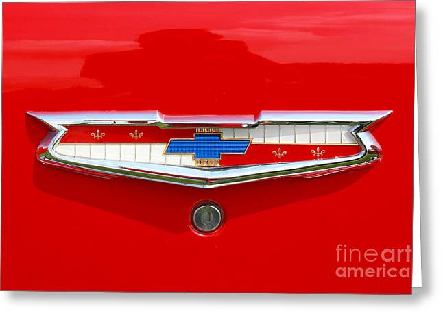 Chevrolet Trunk Greeting Cards - Chevrolet Logo Trunk Badge Greeting Card by Randy Steele
