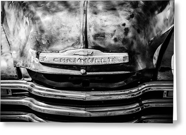Chevrolet Truck Greeting Cards - Chevrolet Truck Grille Emblem -0839bw1 Greeting Card by Jill Reger