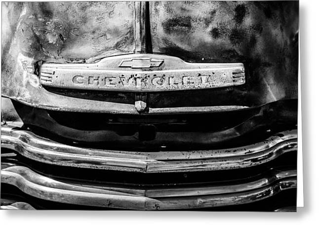 Chevrolet Truck Greeting Cards - Chevrolet Truck Grille Emblem -0839bw2 Greeting Card by Jill Reger