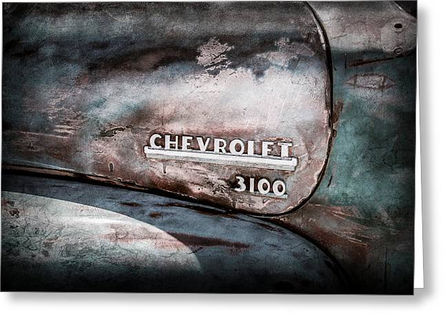 Chevy Truck Greeting Cards - Chevrolet Truck Side Emblem -0842ac1 Greeting Card by Jill Reger
