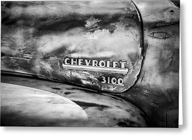Chevy 3100 Greeting Cards - Chevrolet Truck Side Emblem -0842bw1 Greeting Card by Jill Reger