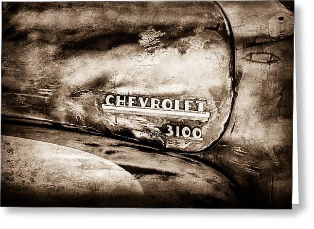 Chevrolet Truck Side Emblem -0842s1 Greeting Card by Jill Reger