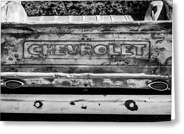 Chevrolet Truck Greeting Cards - Chevrolet Truck Tail Gate Emblem -0839bw Greeting Card by Jill Reger