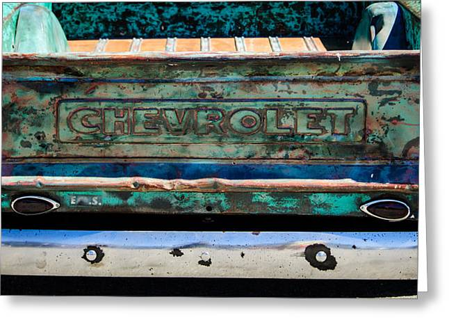 Chevrolet Truck Greeting Cards - Chevrolet Truck Tail Gate Emblem -0839c Greeting Card by Jill Reger