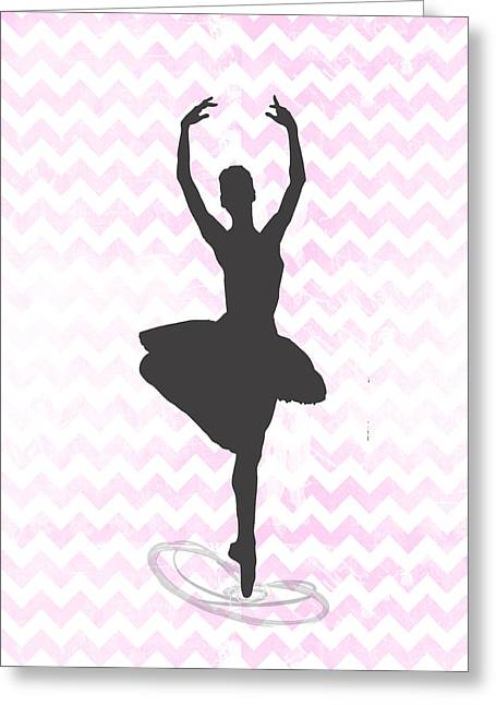 Chevron Ballerina  Greeting Card by Crista Dearinger