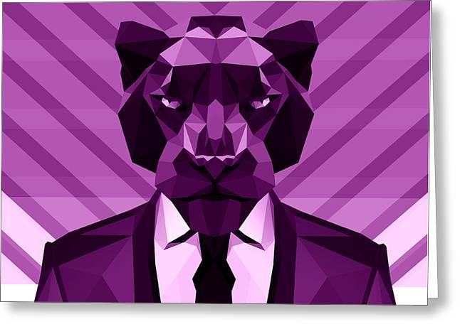 Chevron Panther Greeting Card by Filip Aleksandrov