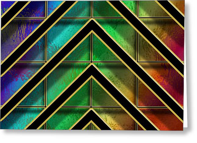 Chevrons And Squares On Glass Greeting Card by Chuck Staley