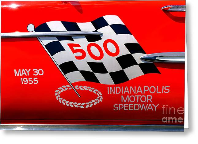 Indianapolis 500 Greeting Cards - Chevy Bel Air Indianapolis Pace Car Greeting Card by Olivier Le Queinec