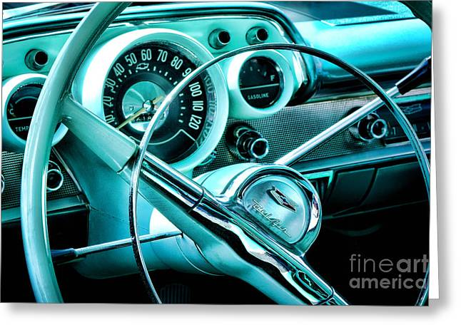 Gauge Greeting Cards - Chevy Bel Air Interior Greeting Card by Olivier Le Queinec
