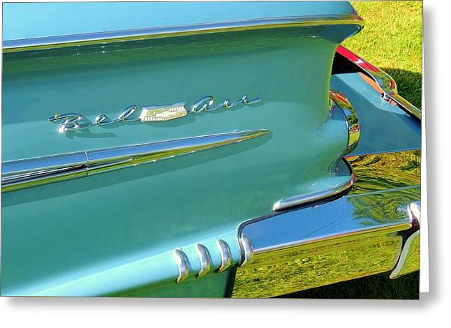 American Grafitti Greeting Cards - Chevy Bel Air Greeting Card by Lisa Gilliam