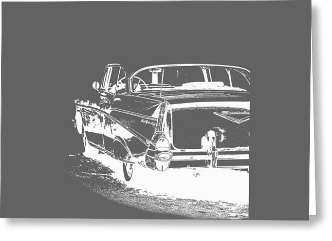 T Shirts Drawings Greeting Cards - Chevy BelAir Tee Greeting Card by Edward Fielding