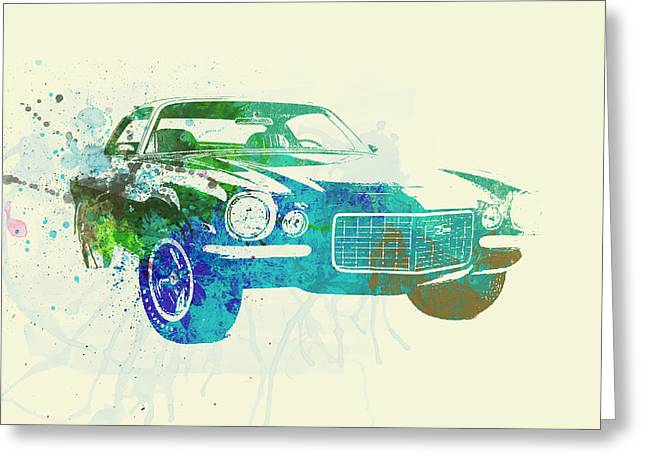 Cylinder Greeting Cards - Chevy Camaro Watercolor Greeting Card by Naxart Studio
