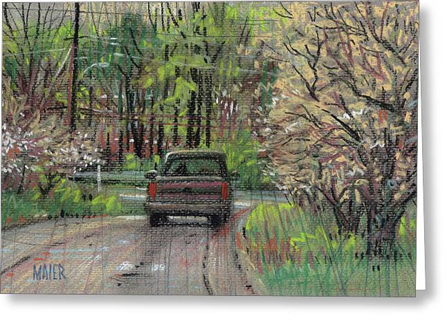 Dogwood Greeting Cards - Chevy In Spring Greeting Card by Donald Maier