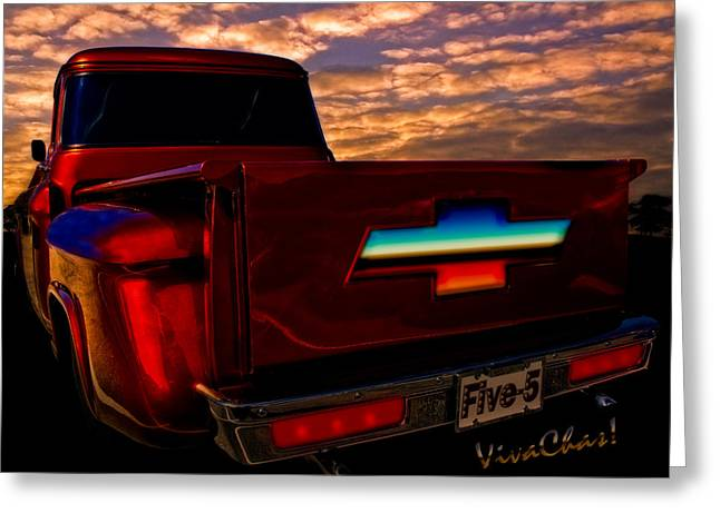 56 Chevy Pickup Greeting Cards - Chevy PU Five-5 Too Pretty To Drive Greeting Card by Chas Sinklier