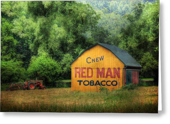 Chewing Greeting Cards - Chew Red Man Greeting Card by Lori Deiter