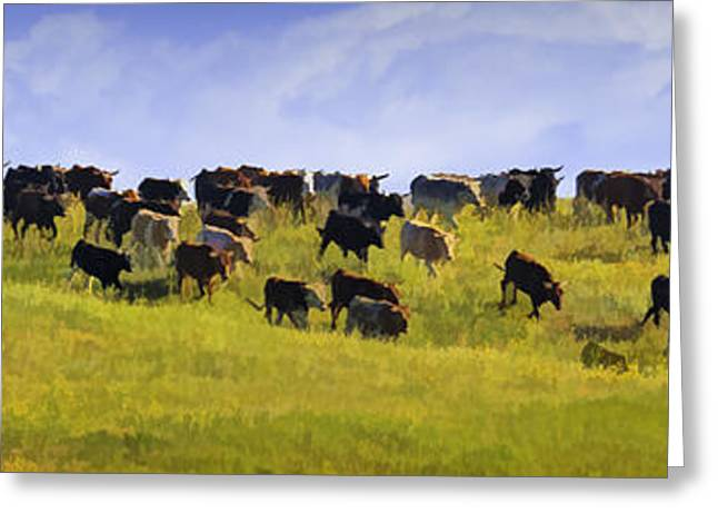 Field. Cloud Greeting Cards - Cheyenne Cattle Roundup Greeting Card by Priscilla Burgers