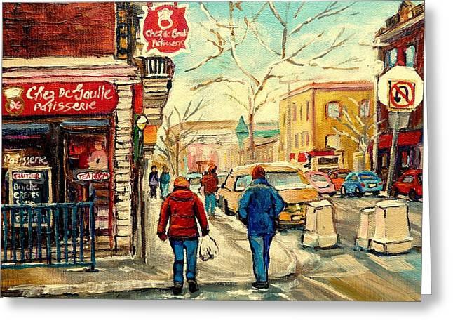 Montreal Diners Greeting Cards - Chez De Gaulle Patisserie Deli Greeting Card by Carole Spandau