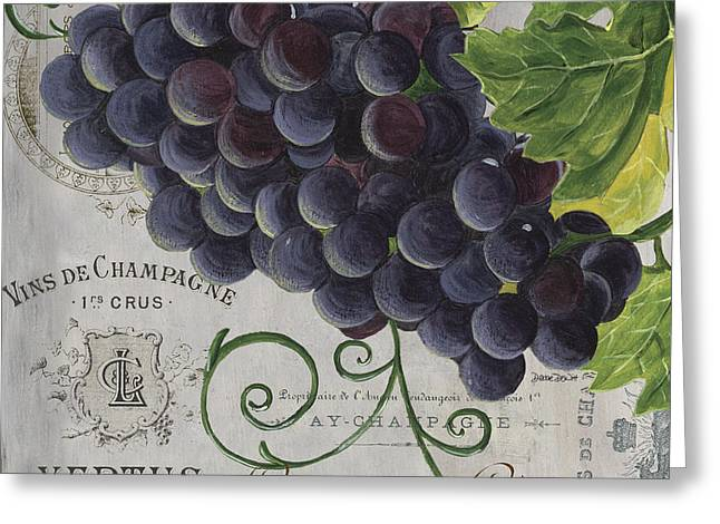 Purple Grapes Paintings Greeting Cards - Vins de Champagne 2 Greeting Card by Debbie DeWitt