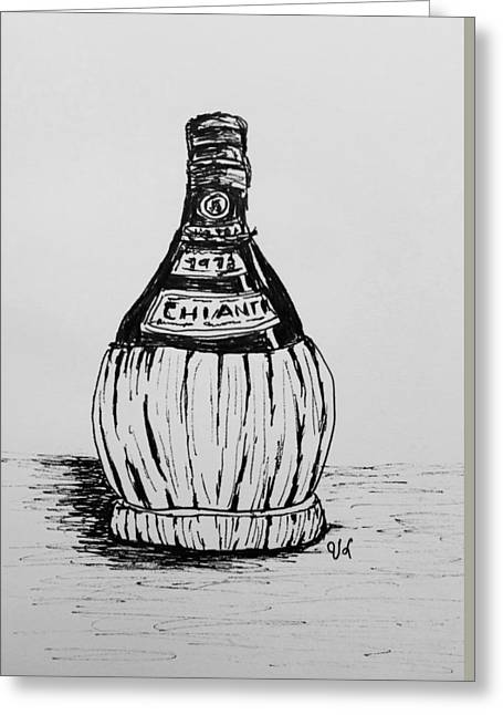 Italian Wine Drawings Greeting Cards - Chianti Bottle Greeting Card by Victoria Lakes