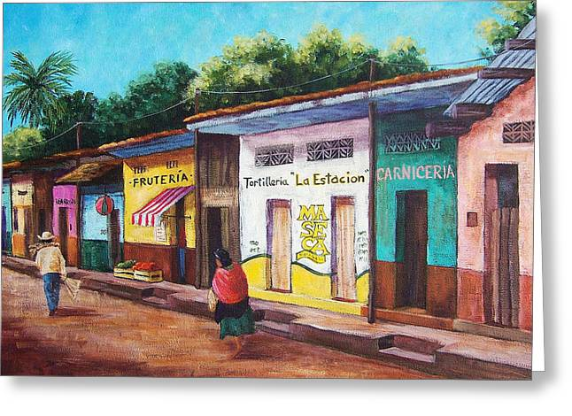 Neighborhoods Greeting Cards - Chiapas Neighborhood Greeting Card by Candy Mayer