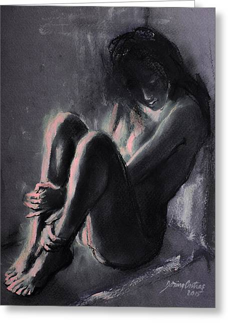 Live Art Greeting Cards - Chiaroscuro Sitting Nude  Greeting Card by Dorina  Costras