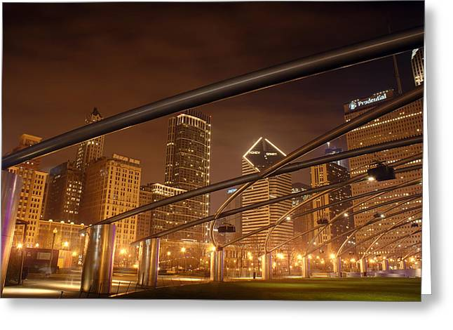 Steel. Grass Greeting Cards - Chicago at night Greeting Card by Andreas Freund