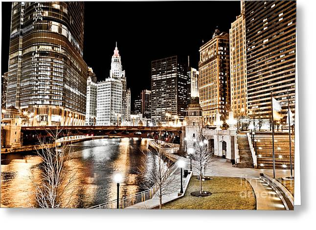 Riverfront Greeting Cards - Chicago at Night at Wabash Avenue Bridge Greeting Card by Paul Velgos
