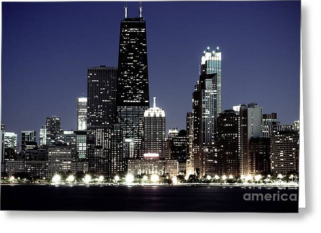 Chicago At Night High Resolution Greeting Card by Paul Velgos