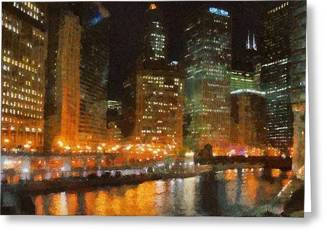 Reflecting Water Digital Art Greeting Cards - Chicago at Night Greeting Card by Jeff Kolker