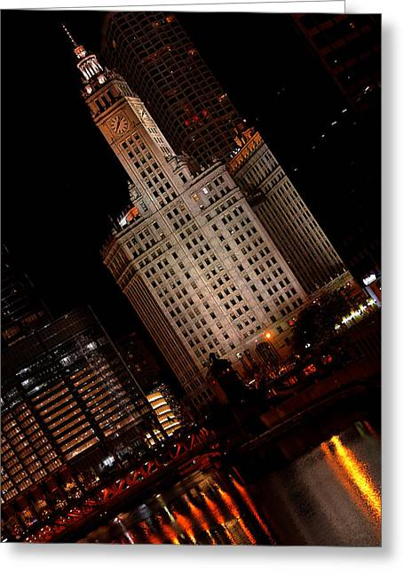 Grant Park Greeting Cards - Chicago at Night Greeting Card by Lone  Dakota Photography