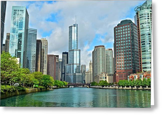 Chicago At Sunrise Greeting Card by Frozen in Time Fine Art Photography